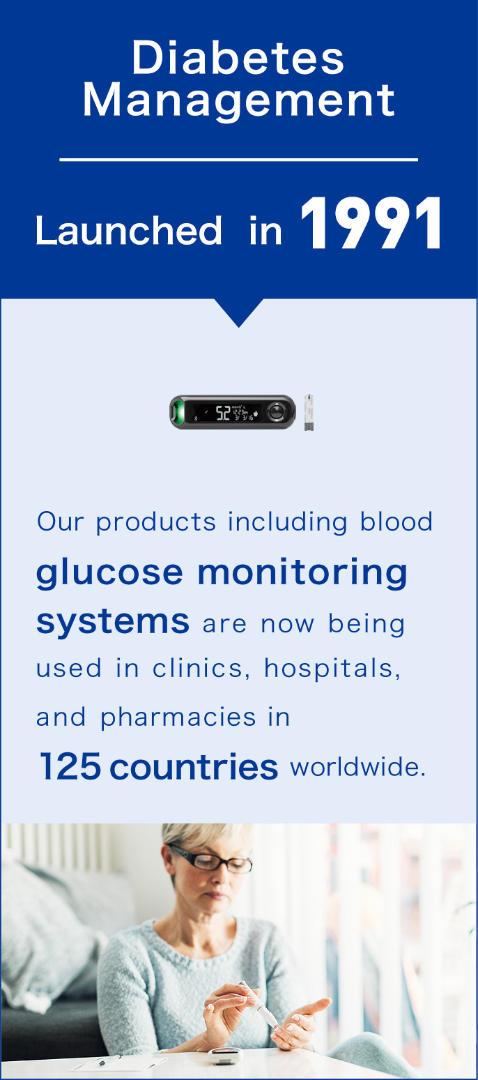 Diabetes Management, Launched in 1991. Our products including blood glucose monitoring systems are now being used in clinics, hospitals, and pharmacies in 125 countries worldwide.
